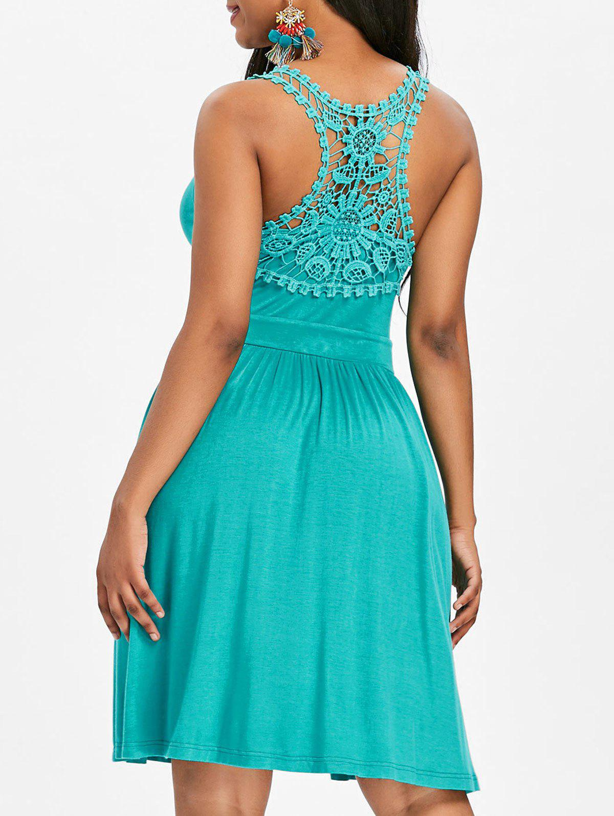 Fashion Lace Panel Racerback A Line Dress