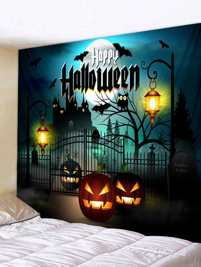 Latest Halloween Night Pumpkin Lantern Terror Castle Printed Wall Tapestry
