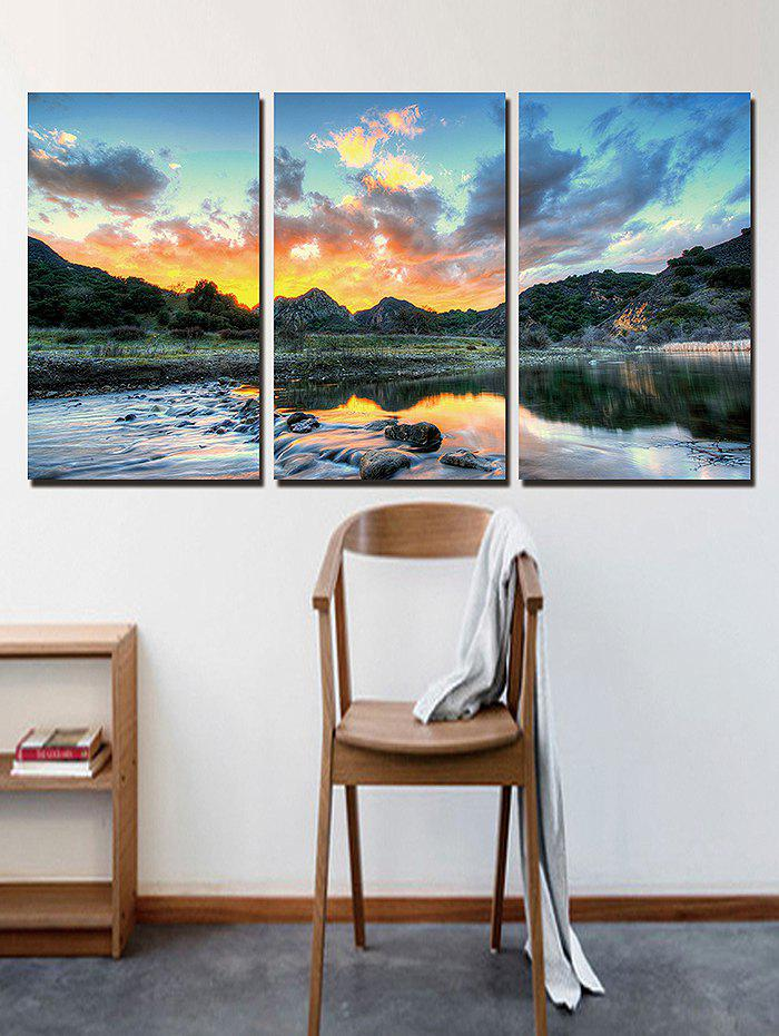 New Sunset Waterside Print Unframed Split Canvas Paintings