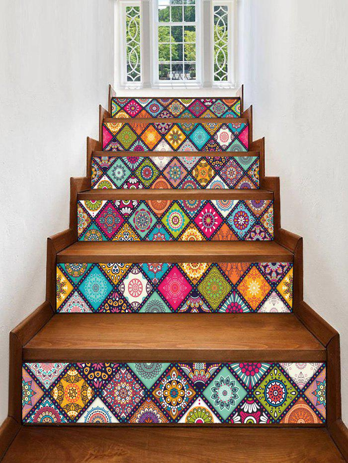 Fashion Mandala Plaid Print Decorative Stair Stickers