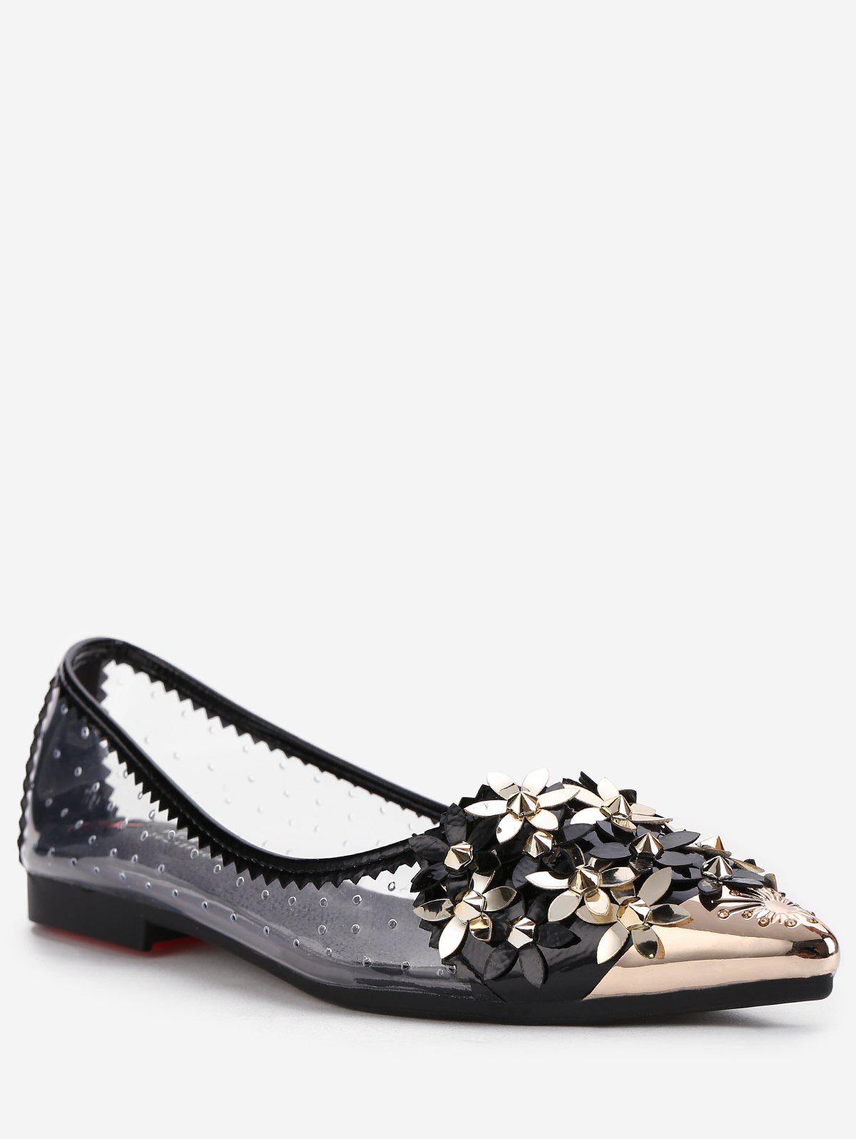 Best Metallic Pointed Toe Scallop Flower Crystals Studded Flats