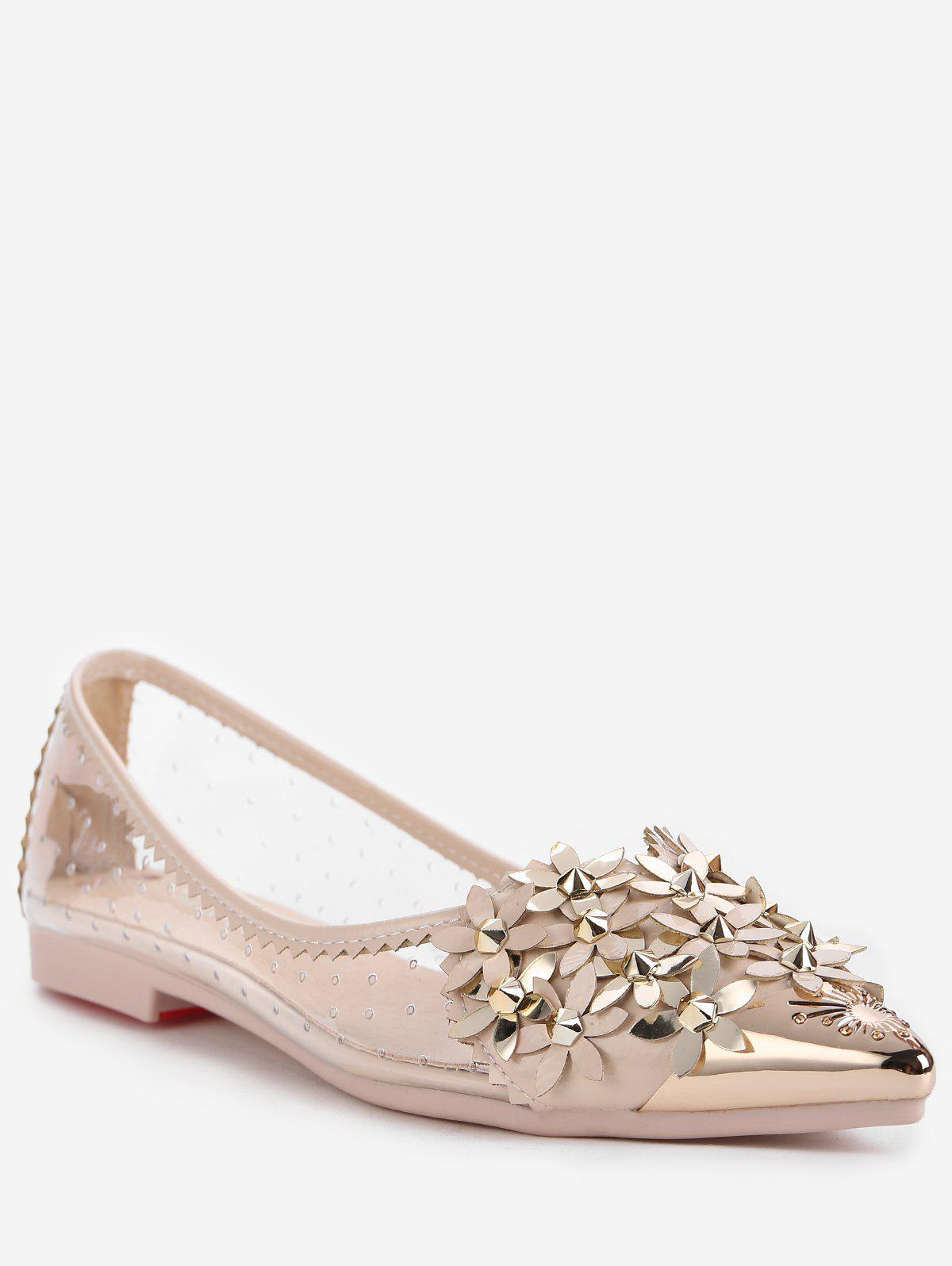Shops Metallic Pointed Toe Scallop Flower Crystals Studded Flats
