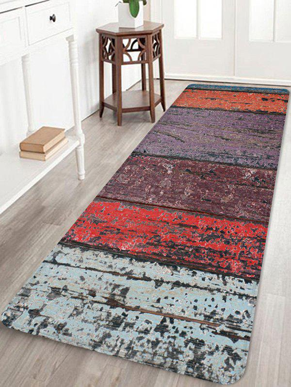 Colorful Wood Grain Pattern Water Absorption Area Rug