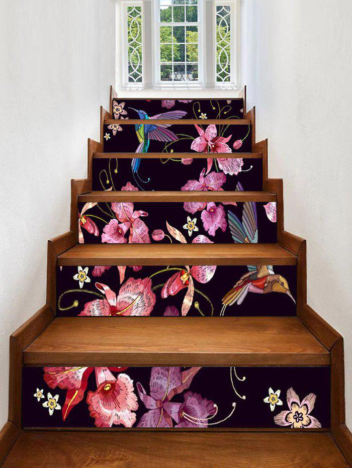 Hot Flower Bird Print Removable Stair Stickers