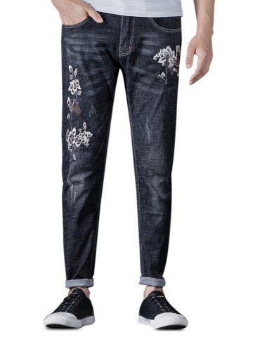 Zip Fly Embroidery Flower Jeans