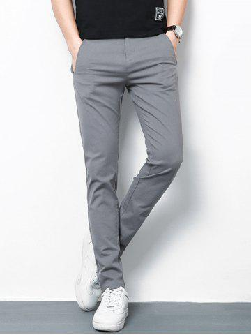 Straight Leg Zip Fly Casual Pants