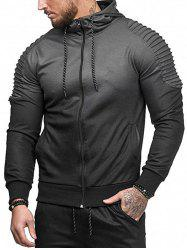 Gradient Print Shoulder Pleated Sports Zip Hoodie -