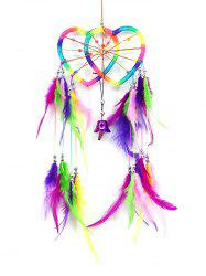 Colorful Feathers Handmade Heart Dream Catcher Wall Hanging -