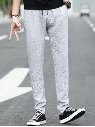 Casual Drawstring Waist Straight Leg Pants -