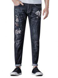 Zip Fly Embroidery Flower Jeans -