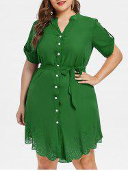 Laser Cut Button Up Plus Size Dress -