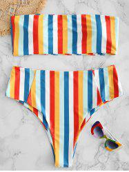 Plus Size Strapless Colored Stripes Bikini Set -