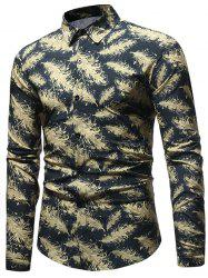 Feathers Printed Button Up Casual Shirt -