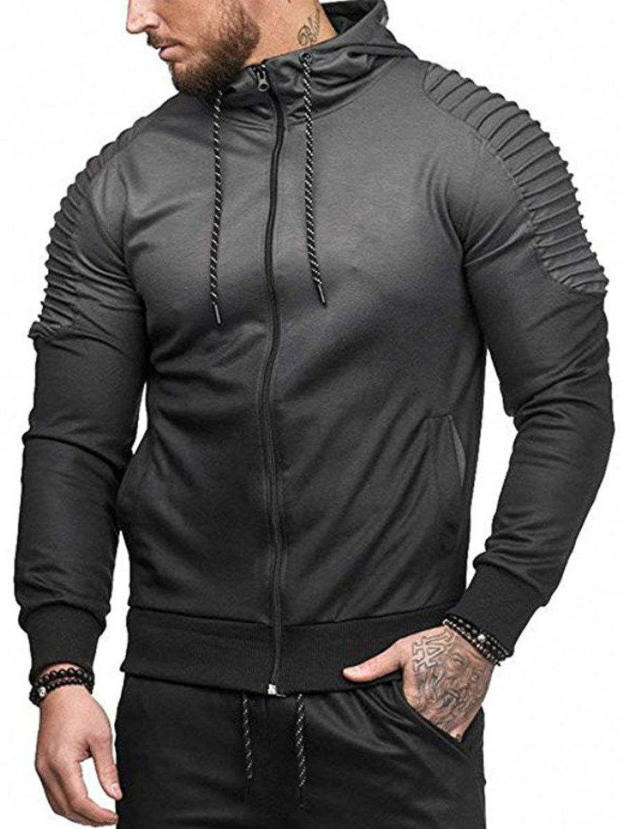 Affordable Gradient Print Shoulder Pleated Sports Zip Hoodie