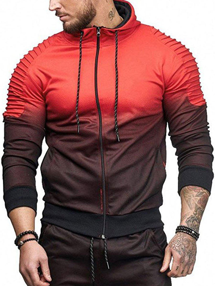 Shop Gradient Print Shoulder Pleated Sports Zip Hoodie