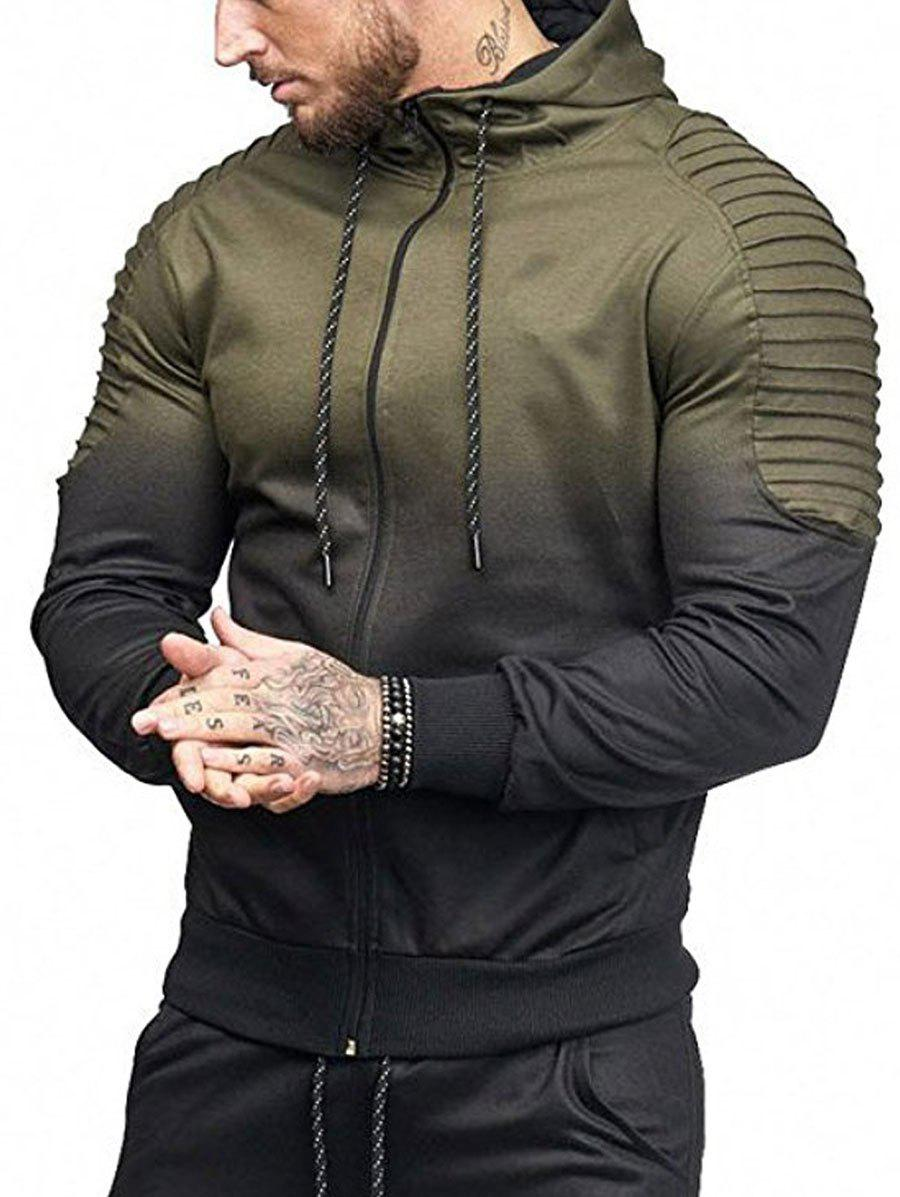 Store Gradient Print Shoulder Pleated Sports Zip Hoodie