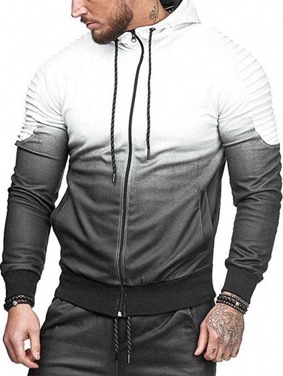 Best Gradient Print Shoulder Pleated Sports Zip Hoodie