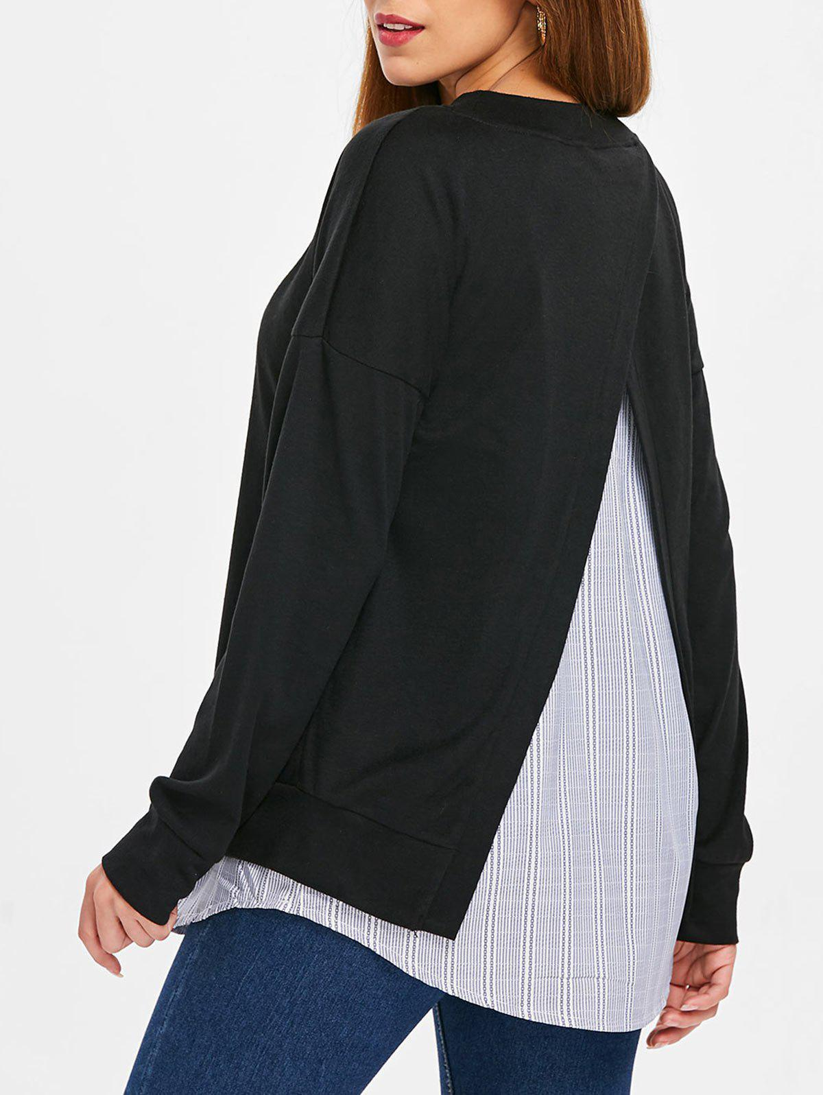 Chic Back Slit Long Sleeve Sweatshirt