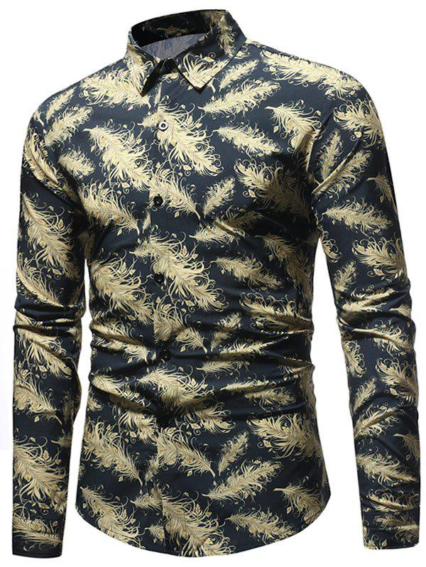 Cheap Feathers Printed Button Up Casual Shirt