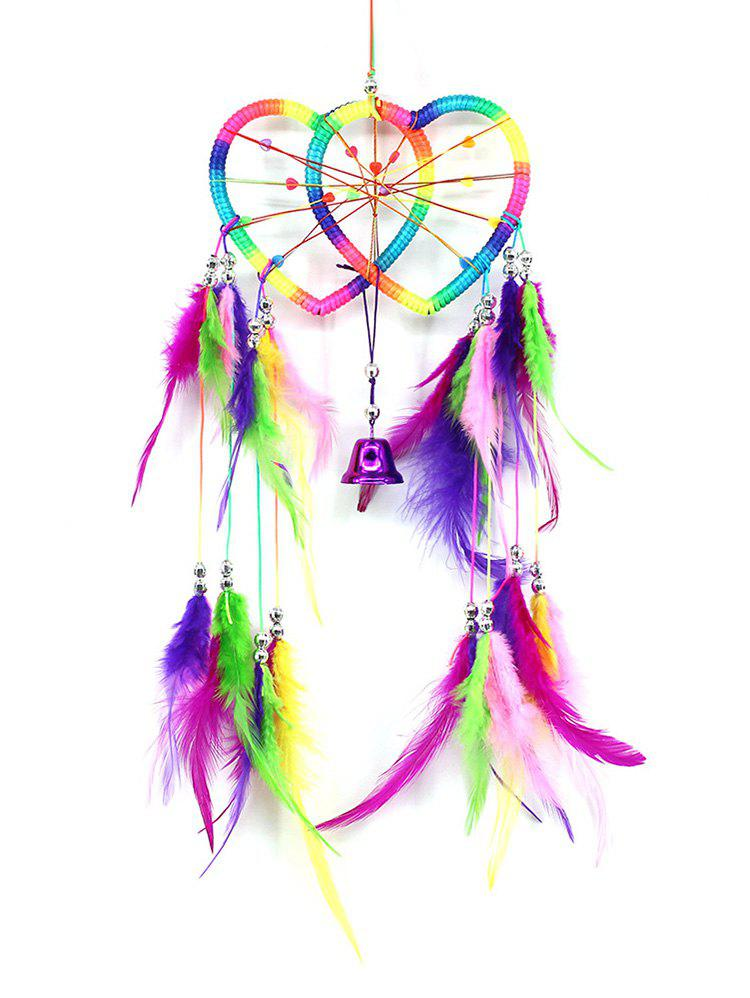 Fashion Colorful Feathers Handmade Heart Dream Catcher Wall Hanging