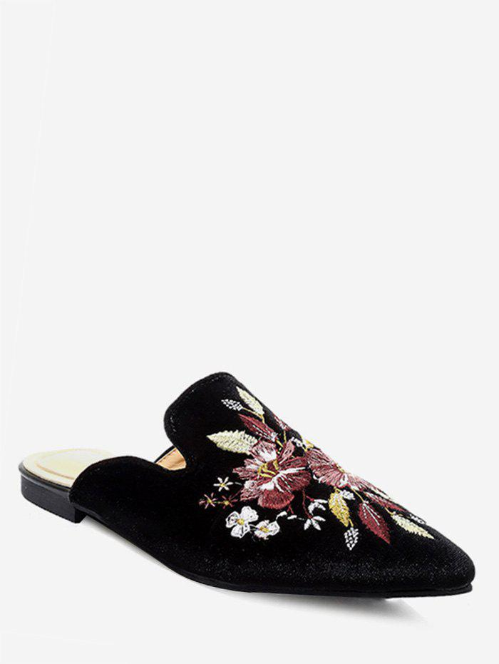 Cheap Chic Flower Embroidery Pointed Toe Mules Flats