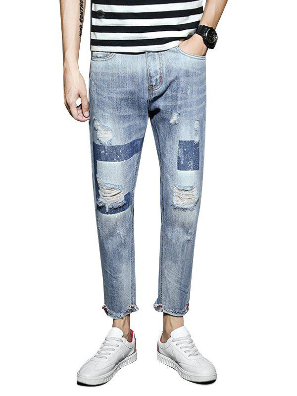 Fancy Light Wash Destroyed Geometric Print Jeans