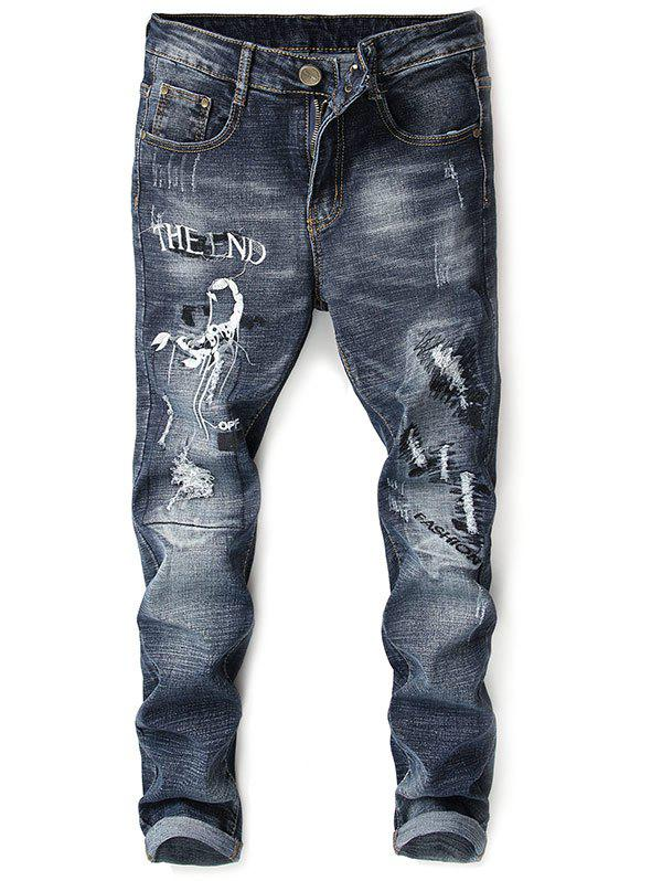 Shop Ripped Embroidery Scorpion Zip Fly Jeans