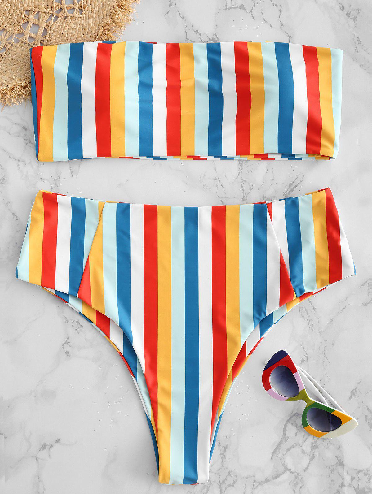 Cheap Plus Size Strapless Colored Stripes Bikini Set