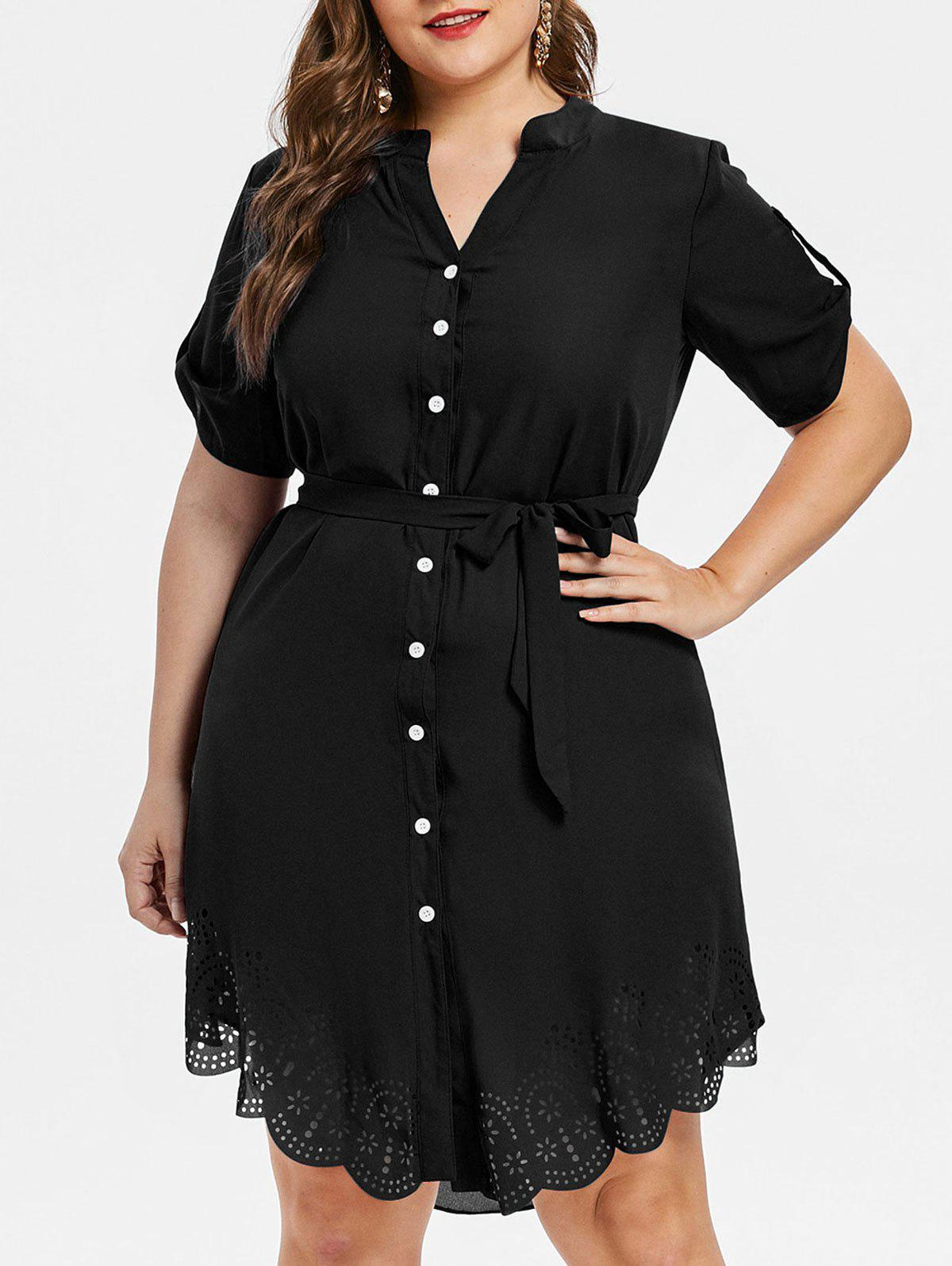 Trendy Laser Cut Button Up Plus Size Dress