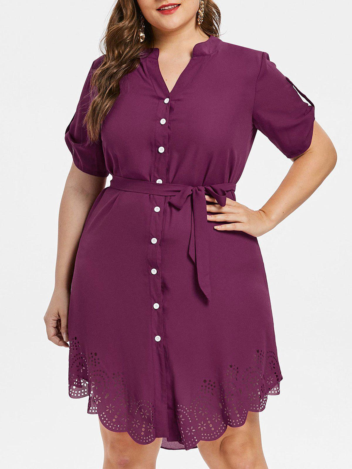 Latest Laser Cut Button Up Plus Size Dress