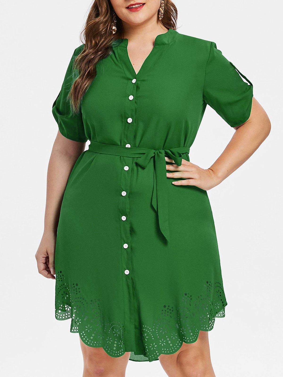 Online Laser Cut Button Up Plus Size Dress