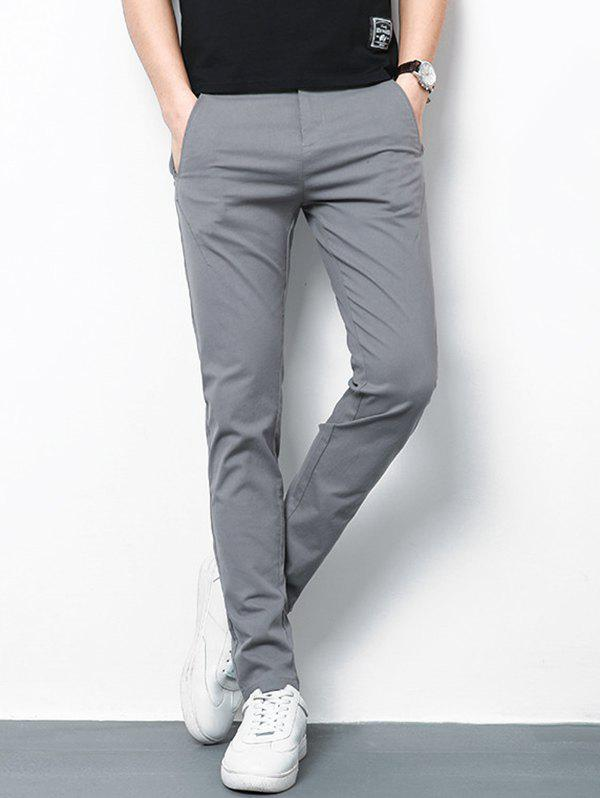 Discount Straight Leg Zip Fly Casual Pants