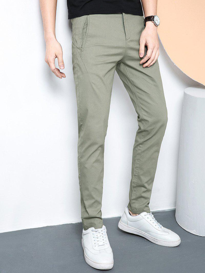 Online Straight Leg Zip Fly Casual Pants