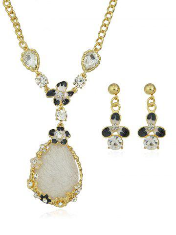 Water Drop Shape Rhinestone Flower Necklace Earrings