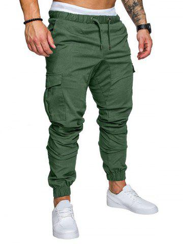 Side Pockets Elastic Cuffed Casual Jogger Pants