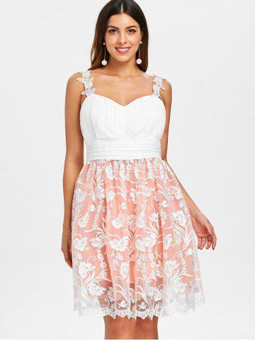 Embroidery Mesh Overlay High Waist Dress