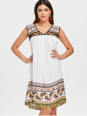 V Neck Cut Out Tribal Print Straight Dress