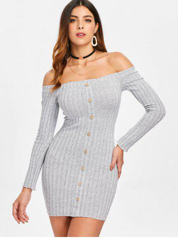 Ribbed Long Sleeve Off Shoulder Dress