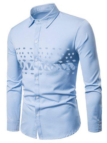 Hollow Out Solid Color Button Up Shirt
