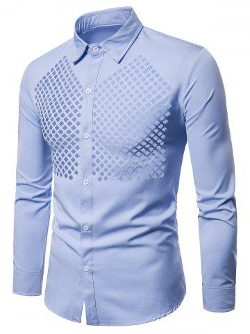 Solid Color Openwork Long Sleeve Shirt