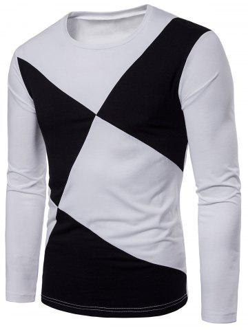 Cross Contrast Patch Design Long Sleeve T-shirt
