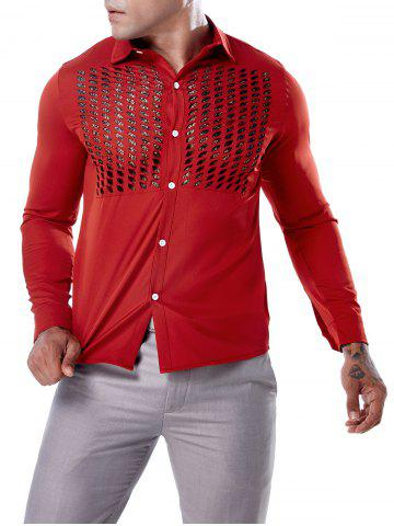 Button Up Lace Panel Hollow Out Shirt