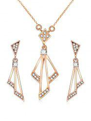 Rhinestone Geometric Shape Chain Necklace с серьгами -