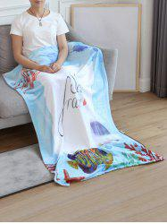 Jellyfish Fish Print Flannel Soft Bed Blanket -