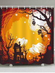 Halloween Castle Night Print Waterproof Bathroom Shower Curtain -