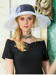 Elegant Striped Pattern Wide Brim Sun Beach Church Hat -
