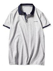 Stripe Trim Short Sleeve Polo Collar T-shirt -