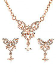 Butterflies Pendant Necklace Stud Earrings -