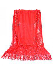 Vintage Hollow Out Lace Floral Silky Scarf -