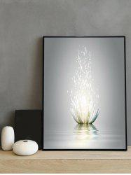 Water Lotus Print Canvas Painting with Frame -
